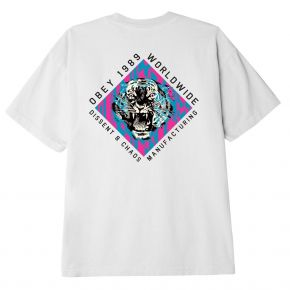 OBEY DISSENT & CHAOS TIGER CLASSIC T-SHIRT 165262584-WHITE